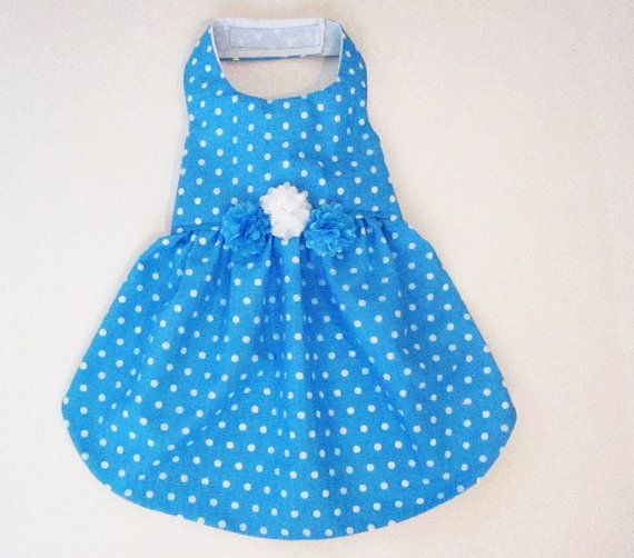 Blue Turquoise Polka Dot Dog Dresses Dog Clothes Pet by miascloset, $18.00