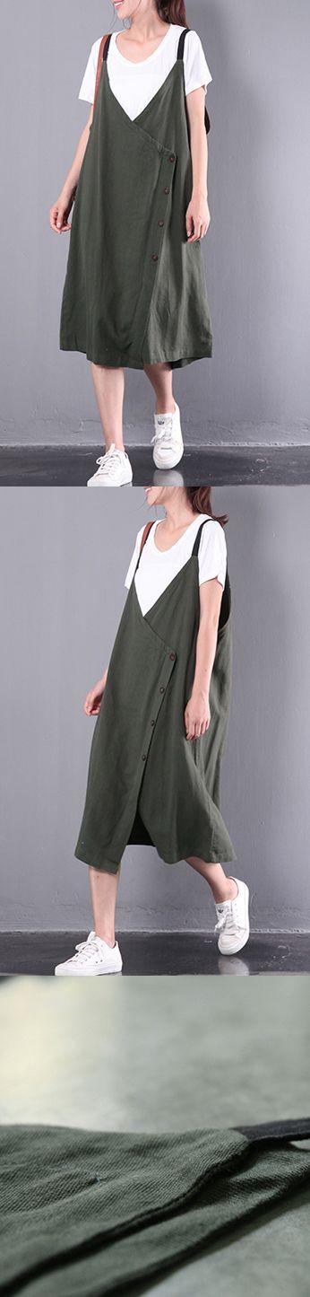 new green casual linen dresses plus size sleeveless dress