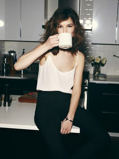 The essentials make for easy and stylish dressing {neutral silk camisoles, black trousers} xoSocialite
