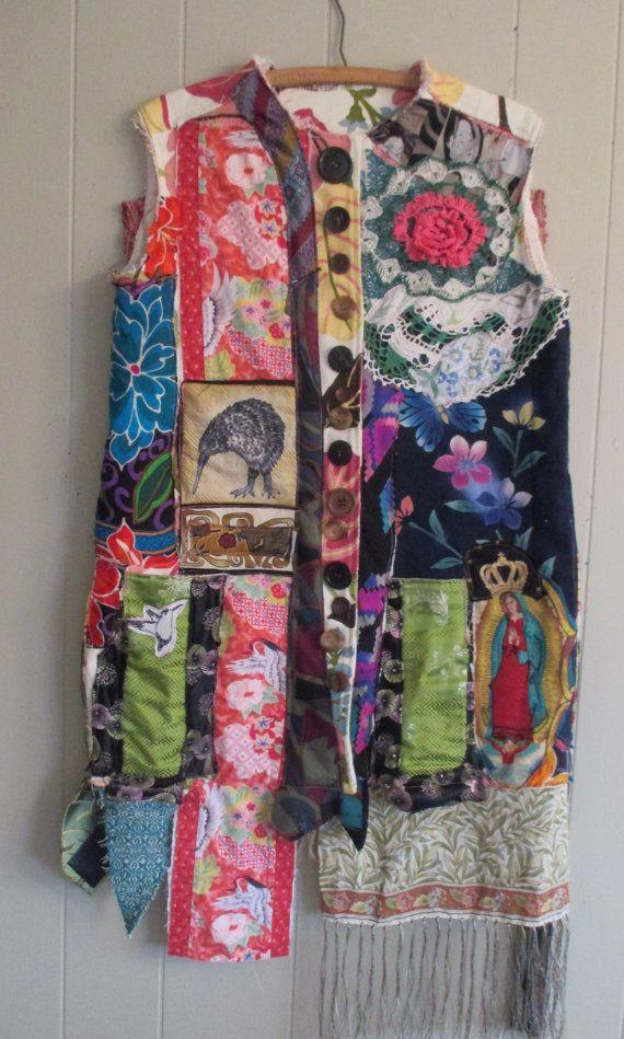 altered artist studio vest - Wearable Folk Art Kimono Couture- Vintage…