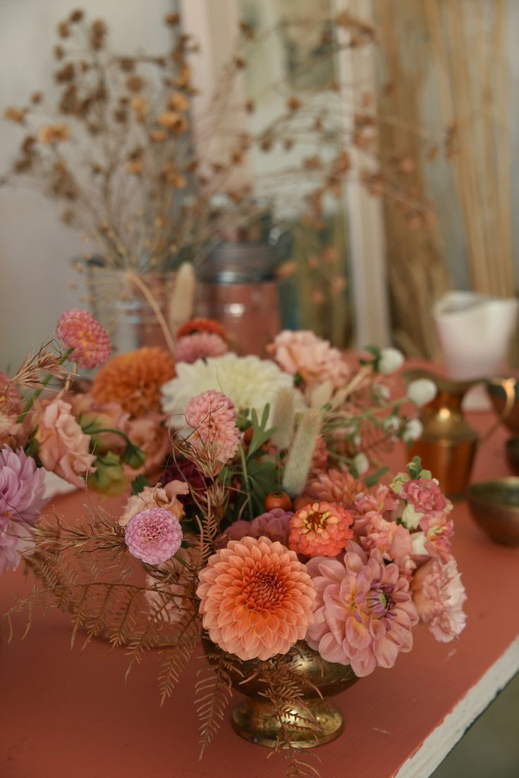 Carmen and Daniel's Beach and Winery Wedding Autumn colours, peach, apricot pastels, dahlias, dried grasses, pampas, ceremony circle, hanging florals, bridal backdrop, vintage