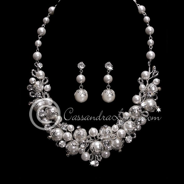 Wedding Jewelry Set of Filigree Capped Ivory Pearls