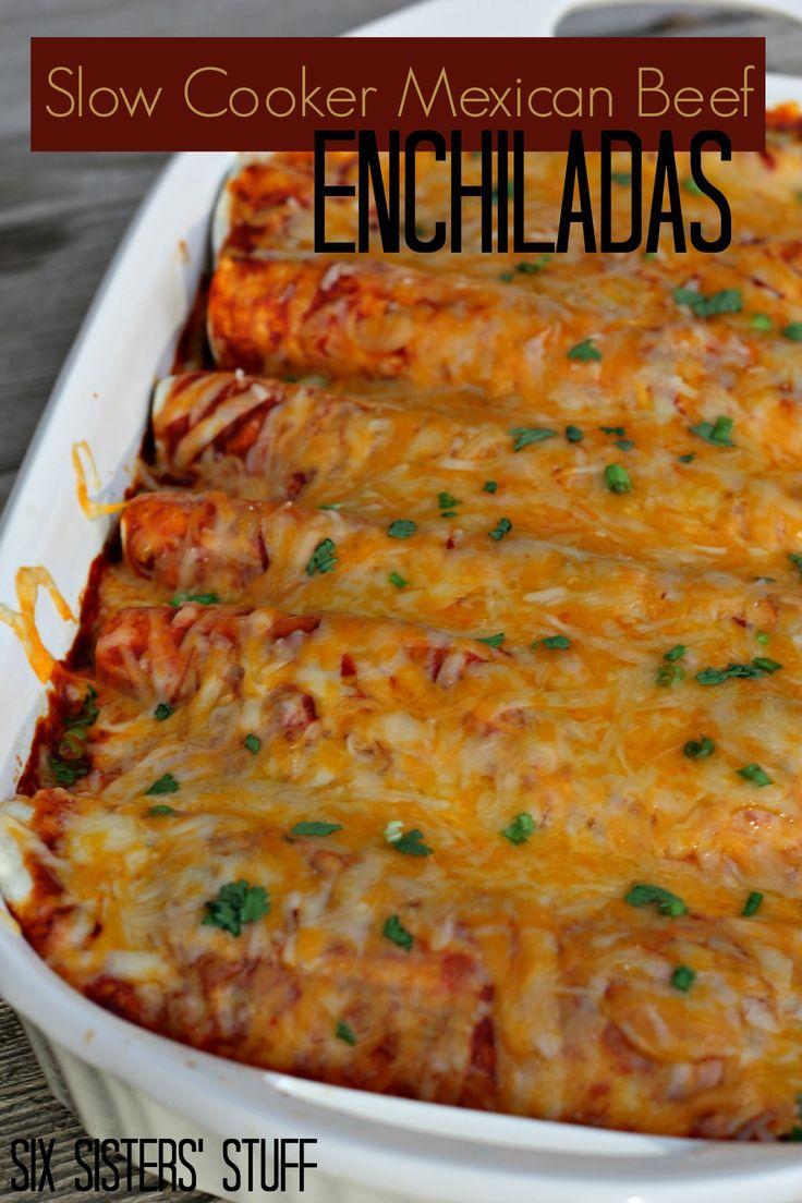 Slow Cooker Mexican Beef Enchiladas on MyRecipeMagic.com