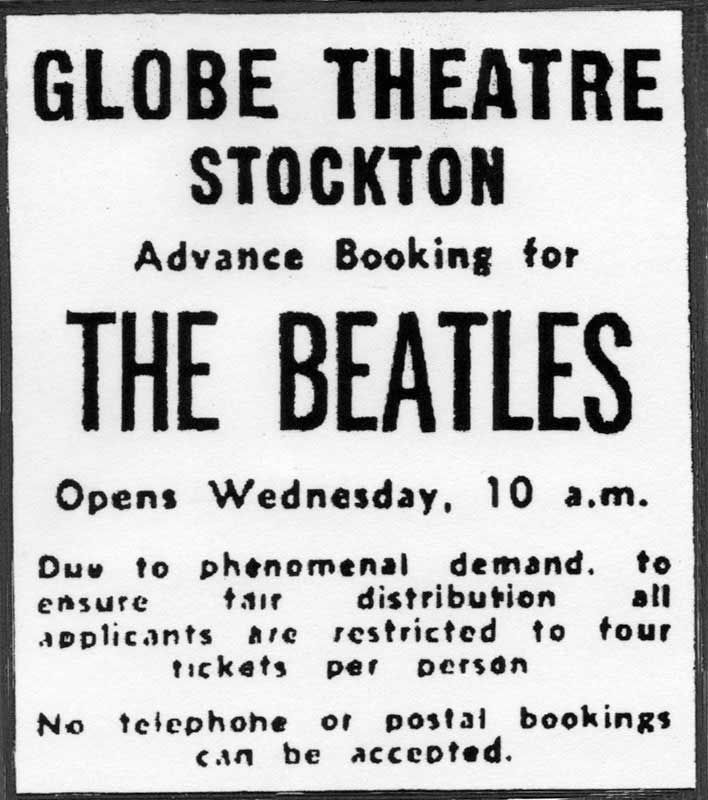 Globe Theatre, Stockton-on-Tees, November 22nd., 1964 | The beatles, Beatles  john, Concert posters