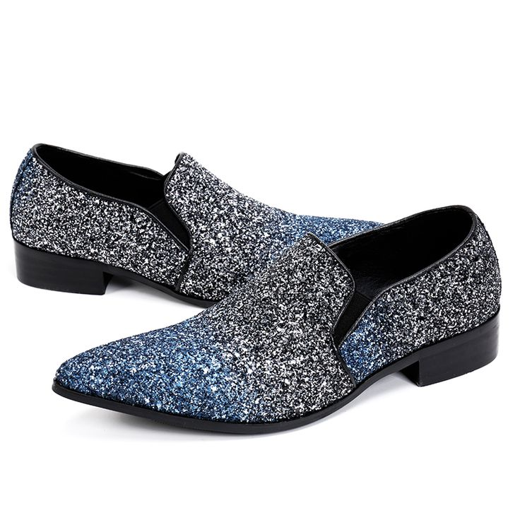 Fashion Italian Men Dress Shoes Genuine Leather Sequins Men Loafers Bling Pointed Toe Formal Wedding Shoes Men Flats Large Size