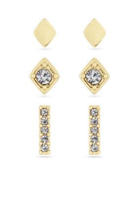 Laundry By Shelli Segal Women Gold-Tone Bar Stud Earring Set - Gold - One Size