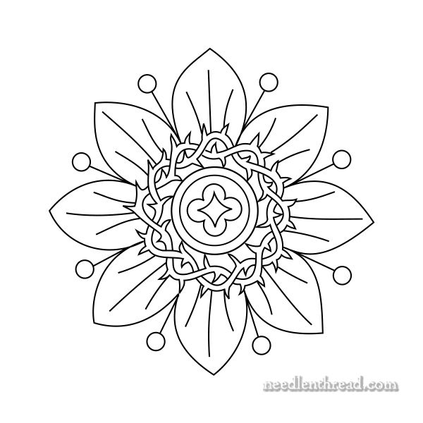 Small Passion Flower Pattern For Hand Embroidery
