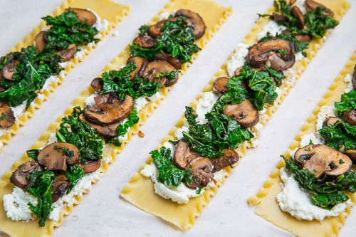 *would probably use spinach instead of kale and make extra sauce. Mushroom Lasagna Roll Ups in Creamy Gorgonzola Cauliflower Sauce