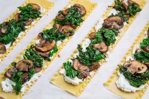 Mushroom Lasagna Roll Ups + Creamy Gorgonzola Cauliflower Sauce
