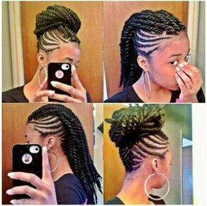 Flat twist the sides & do individual twists down the middle to create the faux hawk. & it's easily transformed into a bun...LOVE IT!