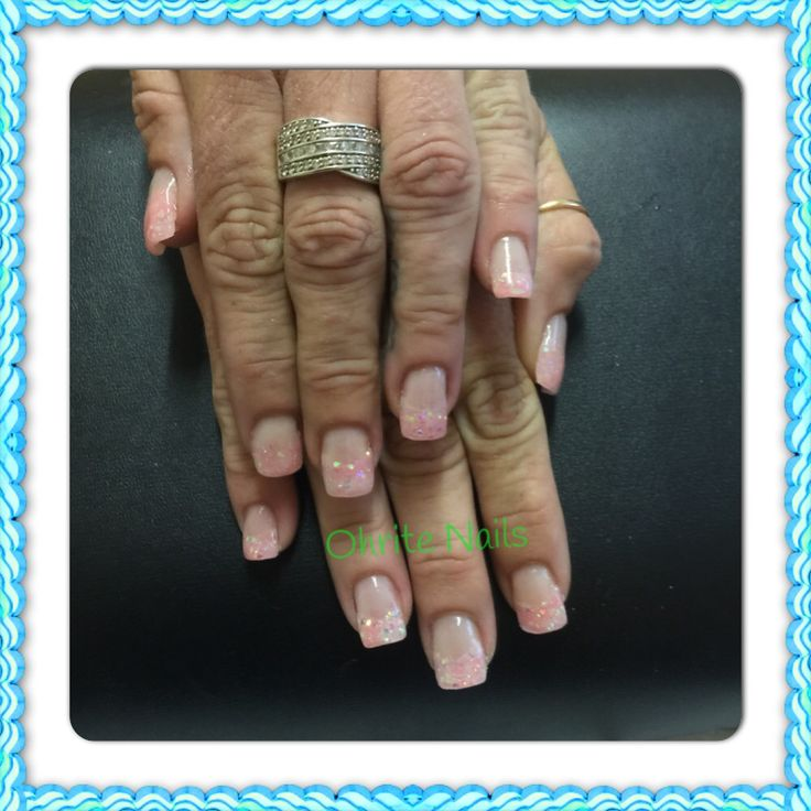 Coral Pink Glitter French Nails...