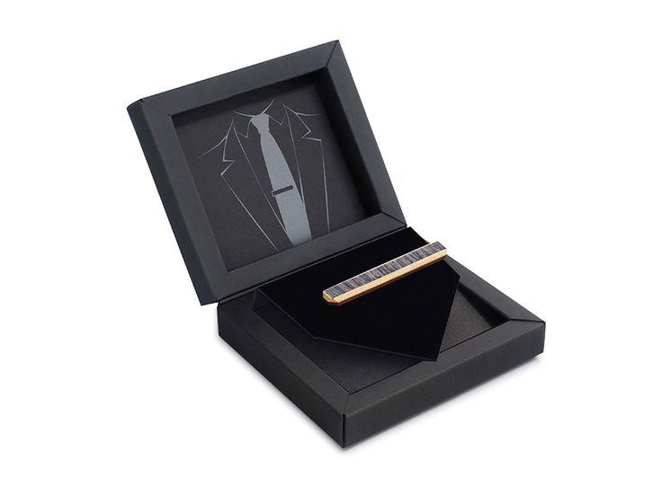 Зажим для галстука ТВИД от БАГ из дерева | Серый дуб / Клён / Красное дерево - Махагон