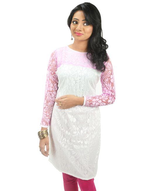 Wedding Gift For Sister Flipkart : Riiti Designs White Pink Printed Cotton Net Kurti- Rs 999 Things to ...