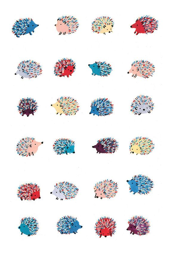 Send someone 24 happy hedgehogs to brighten their day!  This folded card is a reproduction of an original gouache painting, professionally printed in