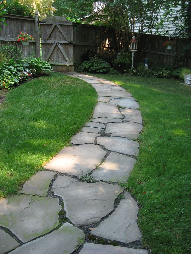 Irregular flagstone pathway, side yard, shade