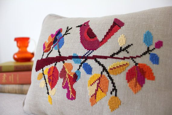 Fall for autumn with my vibrant and easy digital cross stitch pattern of a cheeky bird on a branch of cheery leaves! This design was first available only in Cross Stitch Crazy magazine, but now is available to all as an instant download PDF! Pattern PDF includes: - full color chart - list of thread colors - color photo for reference - separate Cross Stitch Basics PDF for beginners Finished size: - 6 x 8 on 14 count Aida (or 28 count linen as shown) - pillow shown is 9 x 12 This listing is…
