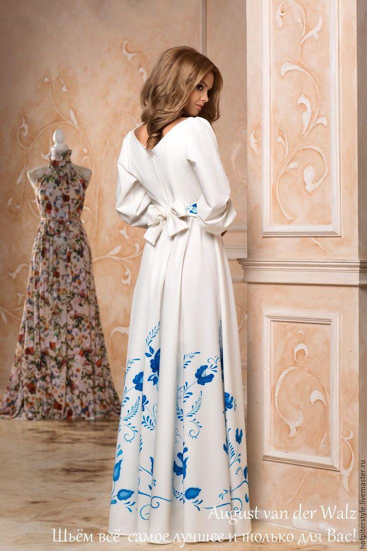 """Купить """"Гжель"""" Платье с ручной росписью - платье в русском стиле, гжельская роспись, гжель"""