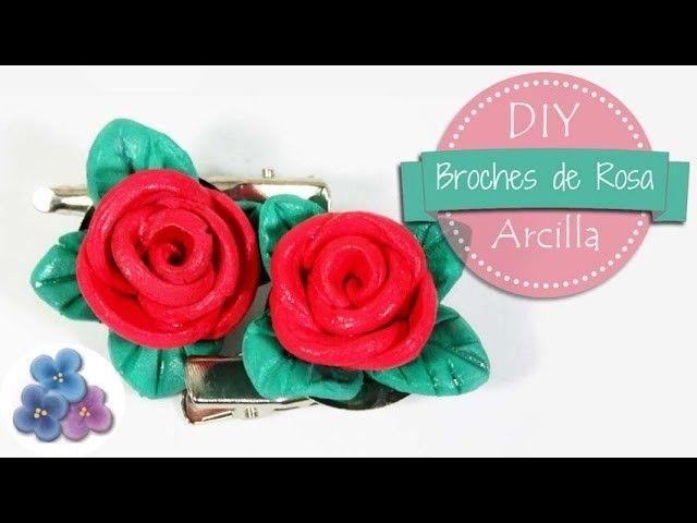Como hacer Broches de Rosas muy FACIL con Arcilla *Sant Jordi* Dia de la Madre* Pintura Facil