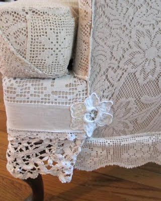 Recovered chair with vintage linens and lace   ...somehow think our cat would shred this rather quickly...