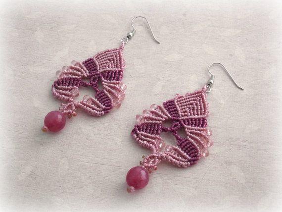 Macrame earrings Maya Pink version di TheItalianCraftShop su Etsy