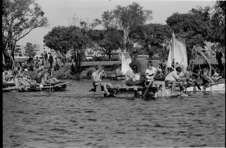 380494PD: Home-made boat regatta, Swan River, Bayswater, March 1974. https://encore.slwa.wa.gov.au/iii/encore/record/C__Rb3820678