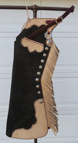 New Handmade GRUMPY OLD COWBOY Buckstitched Step In Chaps for Sale - For more information click on the image or see ad # 40025 on www.RanchWorldAds.com