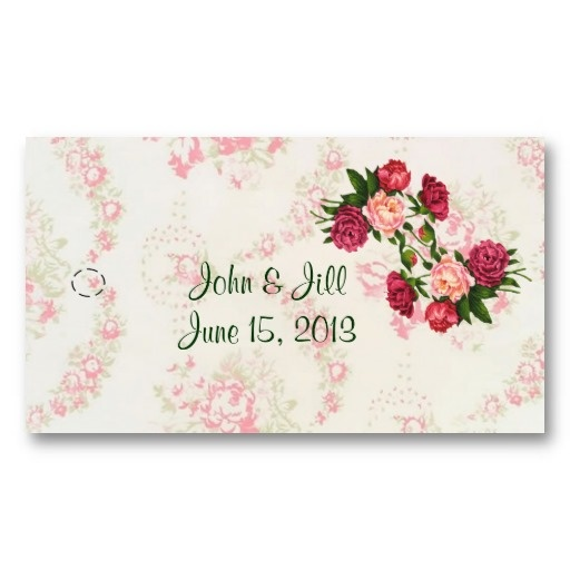Wedding Favor Ribbon Tags : Pink Roses Wedding Favor Hang Tags. Us a hole punch at the mark and ...