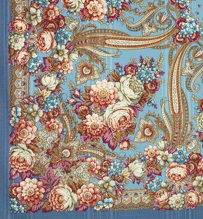 Шали 146х146 : Именинница 1446-2, павлопосадский платок шерстяной (с просновками) с шелковой бахромой