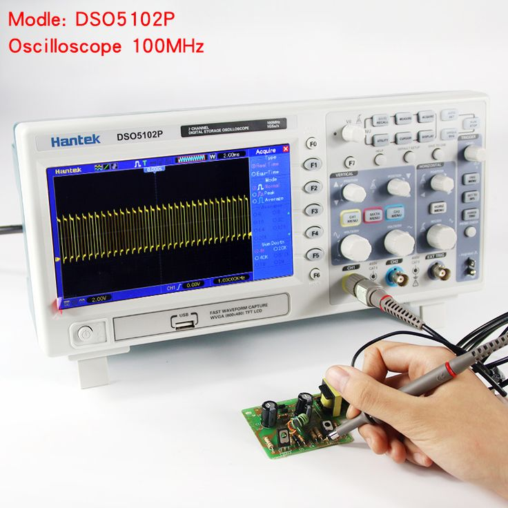 Hantek DSO5102P Digital Oscilloscope Portable 100MHz 2Channels 1GSas Record Length 40K USB LCD Handheld Osciloscopio 7 Inch