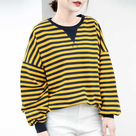 Black and white striped sweatshirt for women batwing sleeves