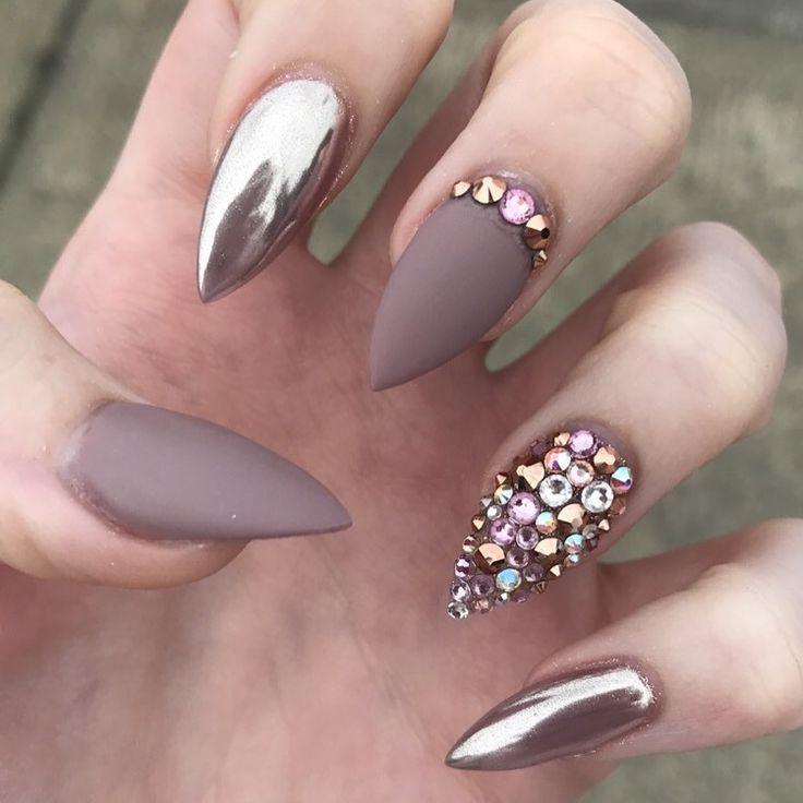 Nude chrome diamante stiletto nails