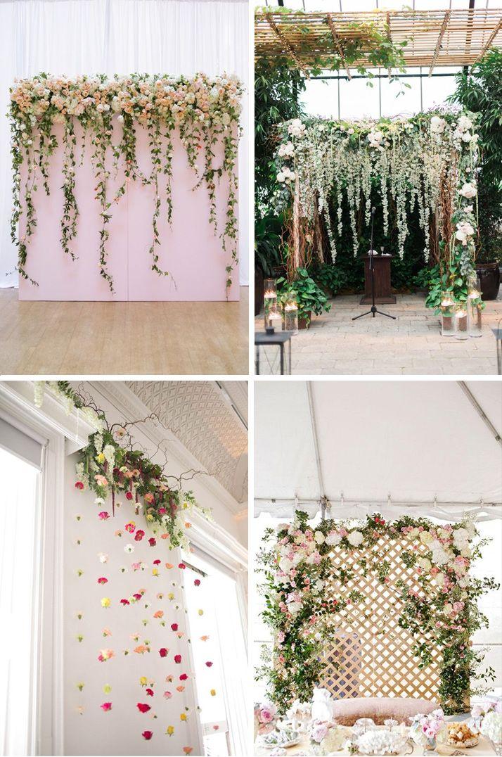 Ściana ze świeżych kwiatów lub ziół