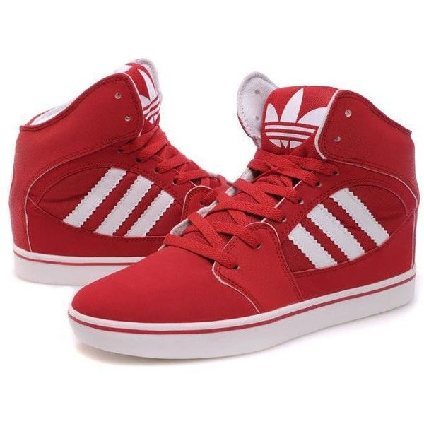 Adidas High Tops Red White found on Polyvore featuring polyvore, fashion, shoes, sneakers, zendaya, adidas sneakers, red high tops, red trainer, white hi top sneakers and hi tops