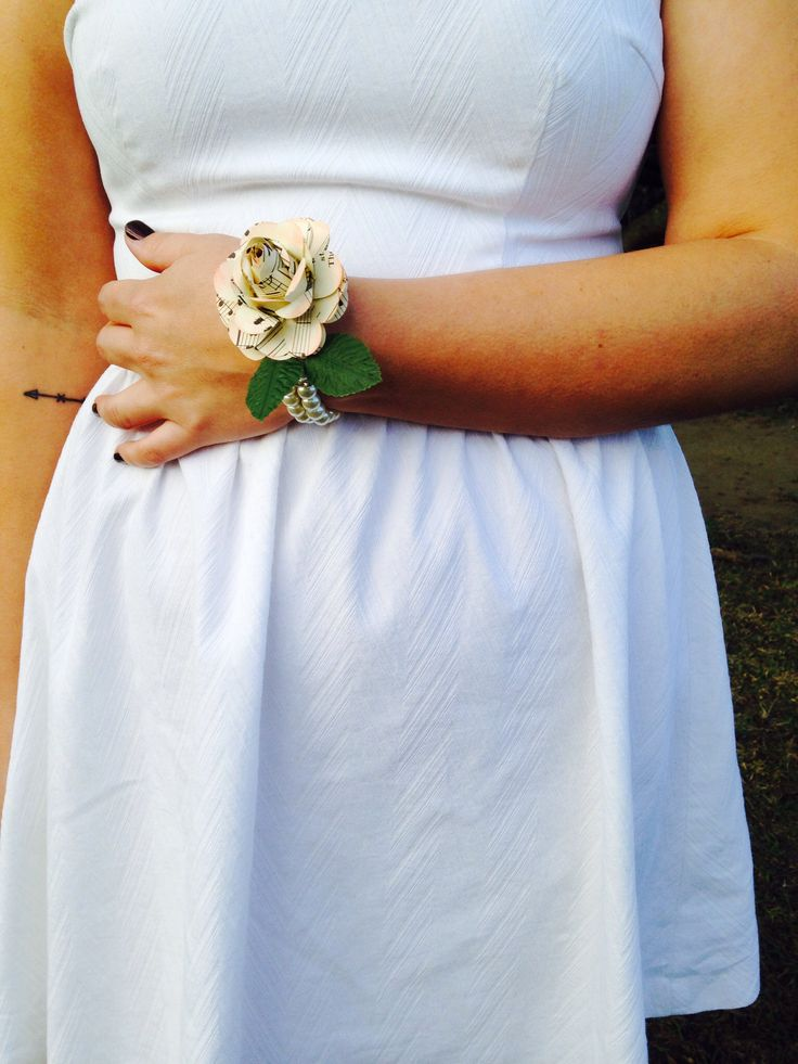 Pearl Corsage with music paper flower accent by Paper Vintage Love