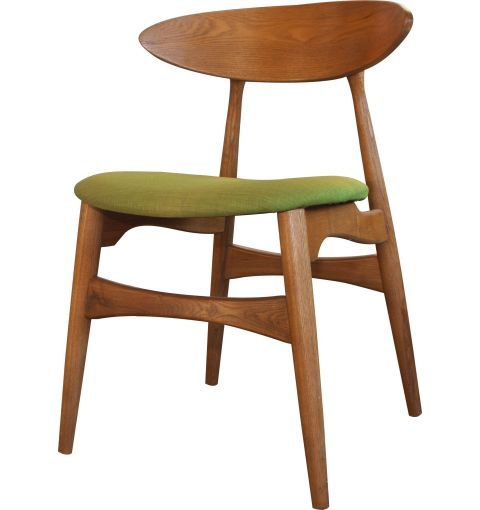 Kato Dining Chair, Ash Walnut/Lime Green Cushion