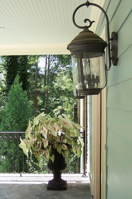 LANDSCAPE DESIGN Decorating Styling: Front Porch: Porches Lights, Client Gardens, Exterior Lights, Front Doors, Cabins Ideas, Ceilings Porches, House Exterior, Front Porches, Cabins Porches