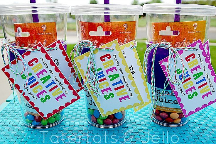 "Teacher Appreciation Gift - ""Creative Juices"" - Drink Tumbler, Jamba Juice gift card, skittles + Free Printable"