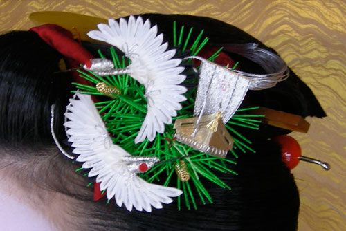 Kyouka's sakkou kanzashi  It's made of pine needles, two cranes and a legendary treasure ship - takarabune: