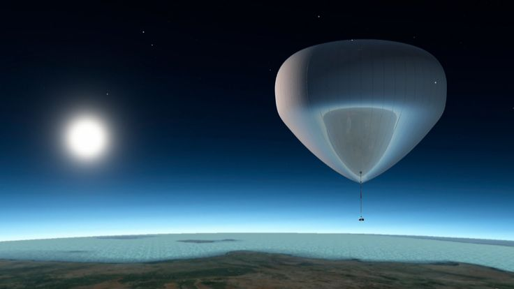 High-altitude, reflective hydrogen balloon carries spacecraft to a height of 55 km. At peak altitude, spacecraft detaches from balloon to go into a short free fall, during which the balloon self-destructs by deflagration and the spacecraft rocket engine is initiated.