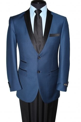 Two tone Blue and Black Notch Lapel Blazer by Tazio welt pocket double pockets  #TAZIOMJ136blue #TwoButton