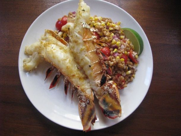 grilled lobster tail with roasted corn and tomato salad - yes, please