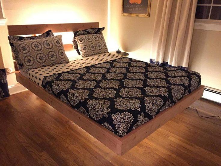 Oak Wood King Size Floating Platform Bed With Headboard Having Black Patterned Bedding Sets With Diy King Bed Platform  Plus Diy Ideas For Bedrooms