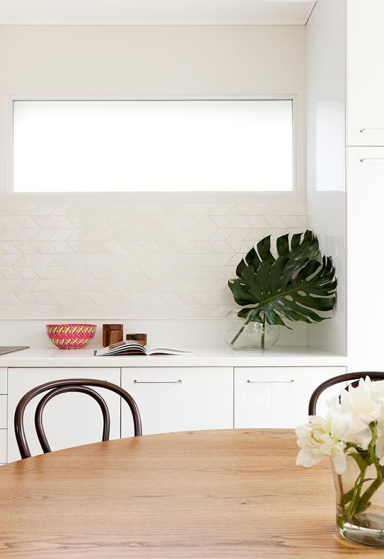 Woollahra terrace arent pyke splashback horizontal herringbone great alternative to - Splashback alternatives ...