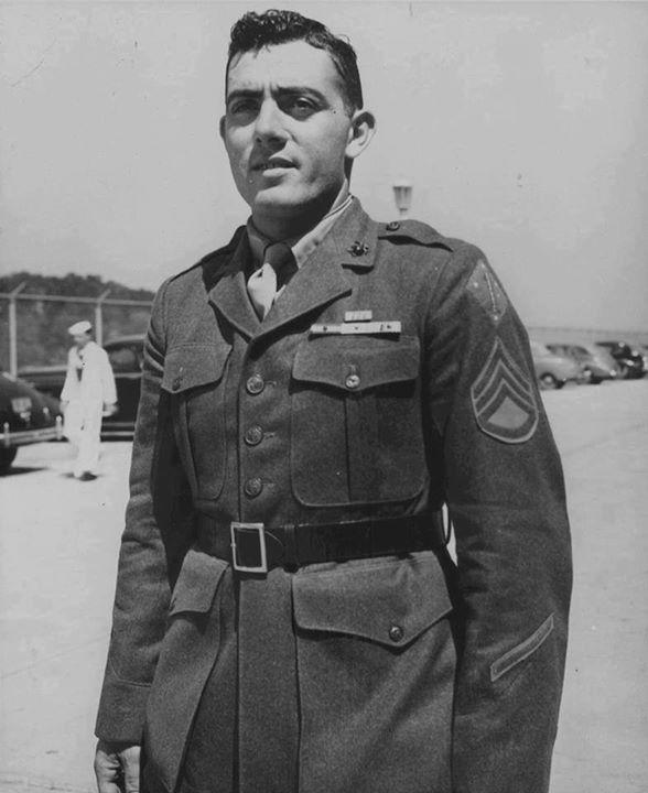 John Basilone at US Marine Corps headquarters Washington DC September 1943.
