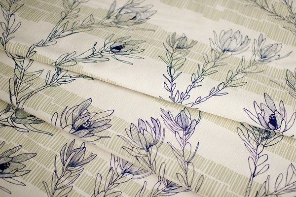 Leuca in Inky Blue & Moss by Ink & Spindle.