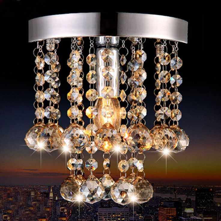 Modern Living Room Crystal Lamp Glass Ceiling