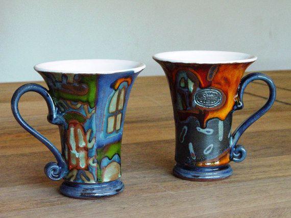 Set di due tazze di caffè, tazze ceramiche colorate con mano dipinta decorazione, tazze in ceramica, tazze da tè, tazze di argilla unica, Danko ceramiche