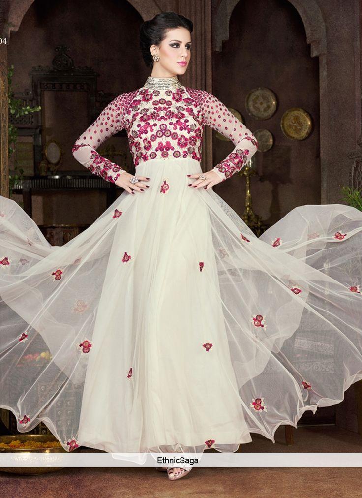 Voguish Off White Designer Gown