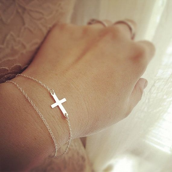 Tiny Sideways Cross Layered Bracelet  All Sterling by cocowagner, $23.90