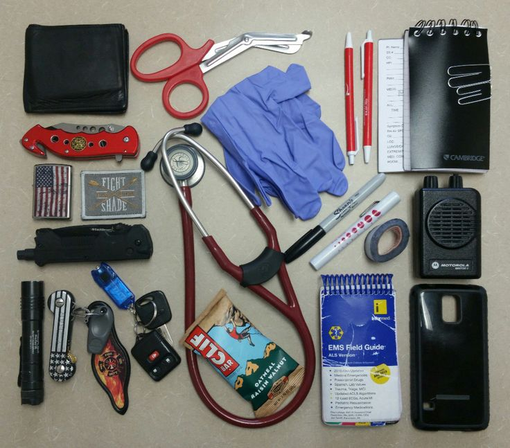 The general equipment I carry on me while working as an EMT. Not pictured: Motorola Portable Radio. Edit: Thanks for the feature!